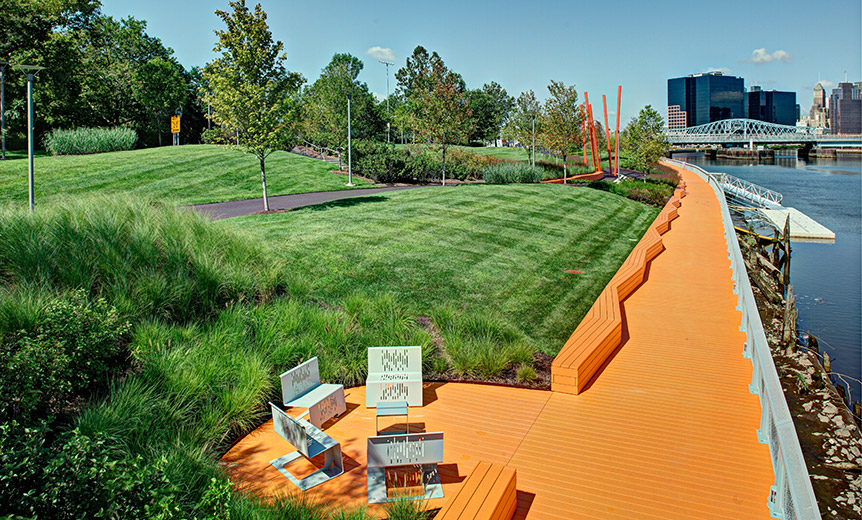 Newark riverfront park mast construction services inc for Red landscape architects